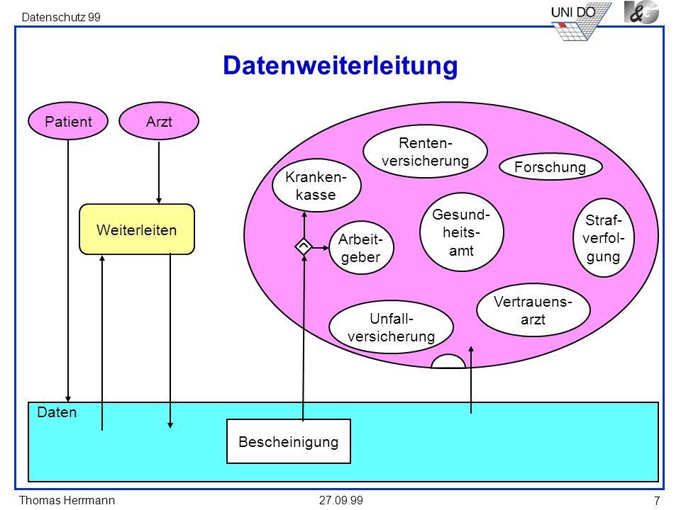 Thomas Herrmann Datenschutz 99 27.09.99 7 Kranken- kasse Arbeit- geber Datenweiterleitung Gesund- heits- amt Renten- versicherung Forschung Straf- ver