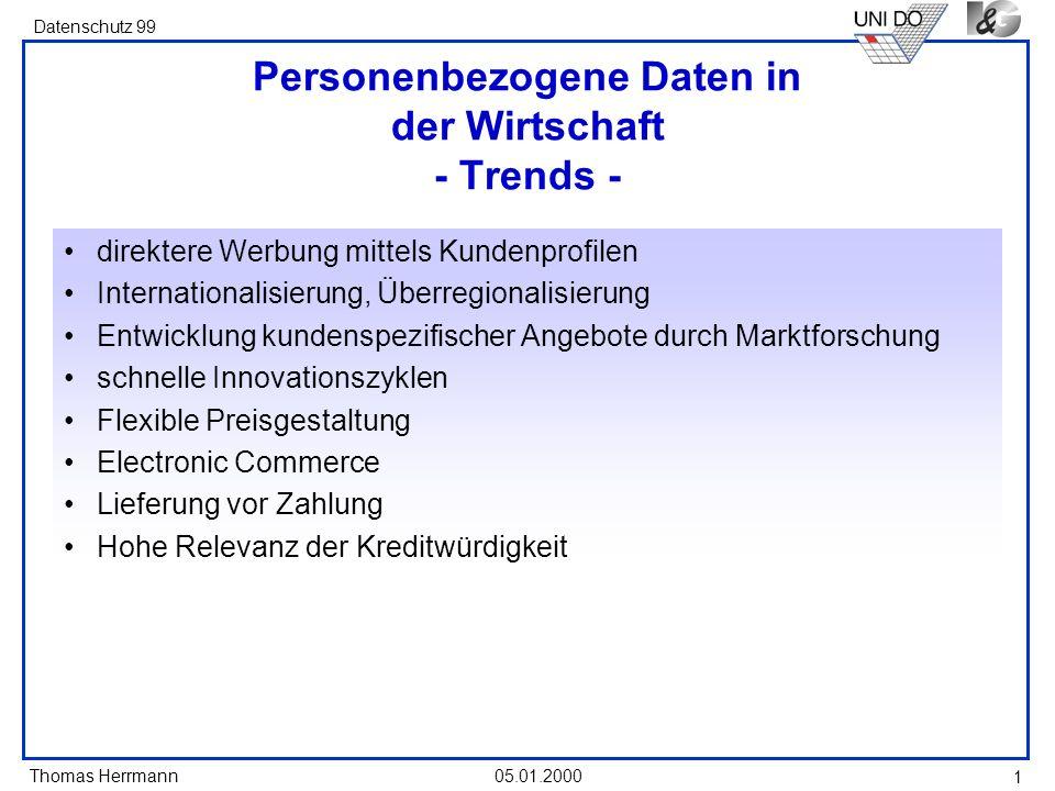 Thomas Herrmann Datenschutz 99 05.01.2000 1 Personenbezogene Daten in der Wirtschaft - Trends - direktere Werbung mittels Kundenprofilen International