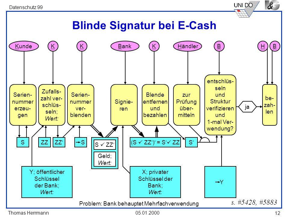 Thomas Herrmann Datenschutz 99 05.01.2000 12 Blinde Signatur bei E-Cash s. #5428, #5883 Kunde Zufalls- zahl ver- schlüs- seln; Wert: K Serien- nummer