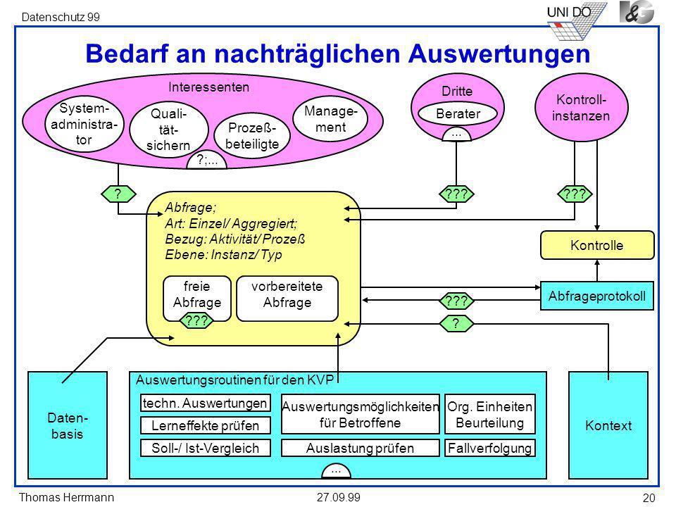 Thomas Herrmann Datenschutz 99 27.09.99 20 Abfrage; Art: Einzel/ Aggregiert; Bezug: Aktivität/ Prozeß Ebene: Instanz/ Typ freie Abfrage ??.