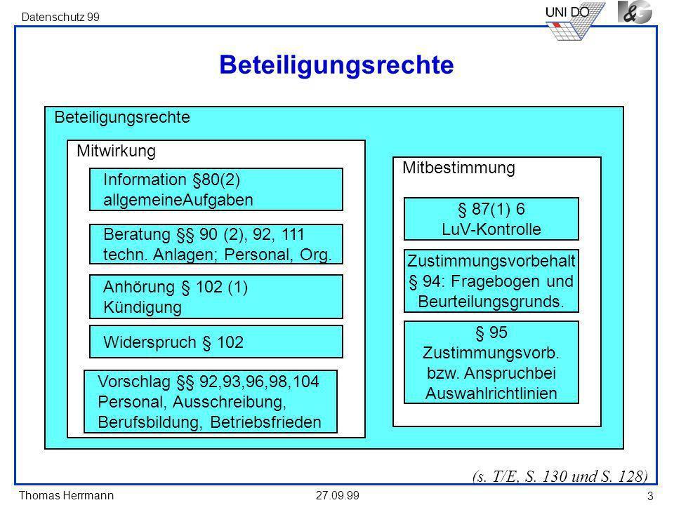 Thomas Herrmann Datenschutz 99 27.09.99 3 Beteiligungsrechte (s.