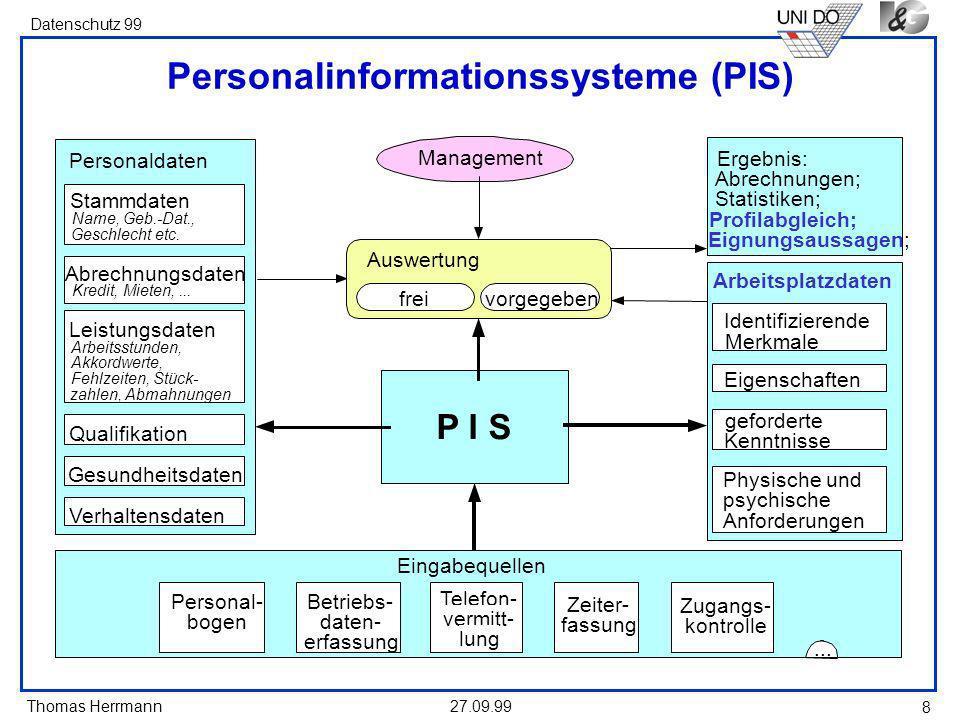 Thomas Herrmann Datenschutz 99 27.09.99 8 Personalinformationssysteme (PIS) P I S Management Personaldaten Stammdaten Name, Geb.-Dat., Geschlecht etc.