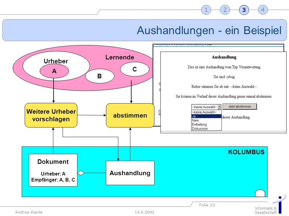 13.6.2002 Informatik & Gesellschaft Andrea Kienle Folie 23 2341 KOLUMBUS Dokument Urheber: A Empfänger: A, B, C Aushandlungen - ein Beispiel Lernende