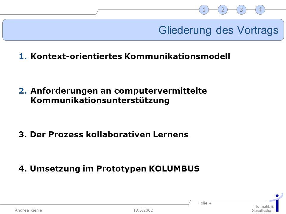 13.6.2002 Informatik & Gesellschaft Andrea Kienle Folie 4 2341 Gliederung des Vortrags 1.Kontext-orientiertes Kommunikationsmodell 2.Anforderungen an