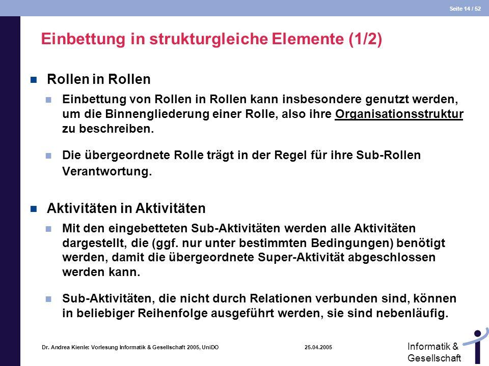 Seite 14 / 52 Informatik & Gesellschaft Dr. Andrea Kienle: Vorlesung Informatik & Gesellschaft 2005, UniDO 25.04.2005 Einbettung in strukturgleiche El