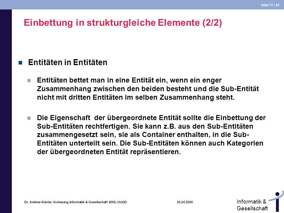 Seite 17 / 52 Informatik & Gesellschaft Dr. Andrea Kienle: Vorlesung Informatik & Gesellschaft 2005, UniDO 25.04.2005 Einbettung in strukturgleiche El