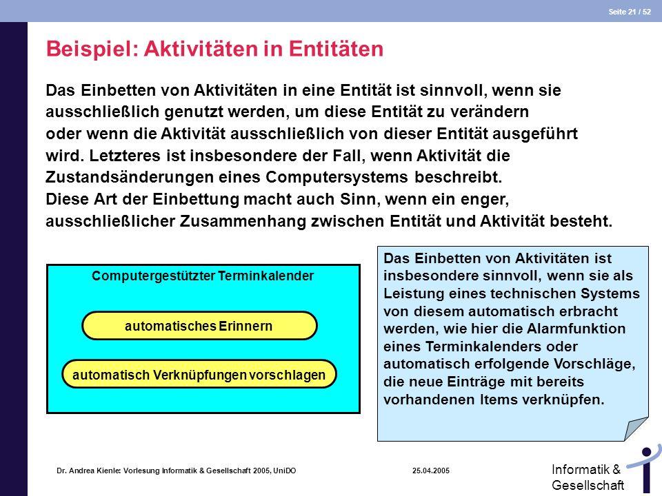 Seite 21 / 52 Informatik & Gesellschaft Dr. Andrea Kienle: Vorlesung Informatik & Gesellschaft 2005, UniDO 25.04.2005 Beispiel: Aktivitäten in Entität