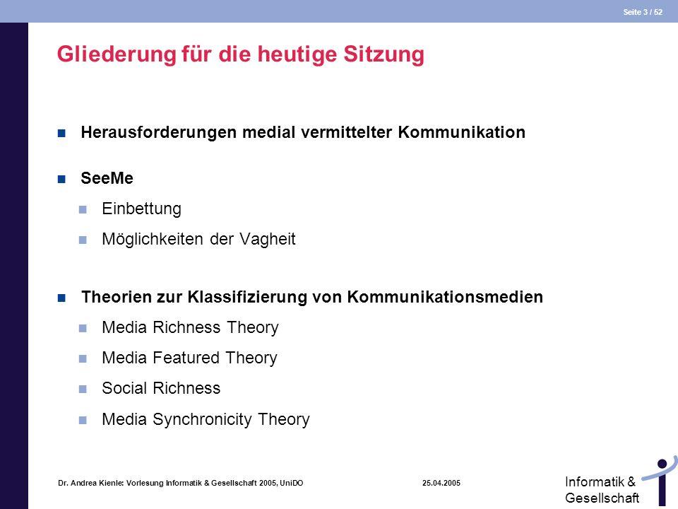 Seite 3 / 52 Informatik & Gesellschaft Dr. Andrea Kienle: Vorlesung Informatik & Gesellschaft 2005, UniDO 25.04.2005 Gliederung für die heutige Sitzun