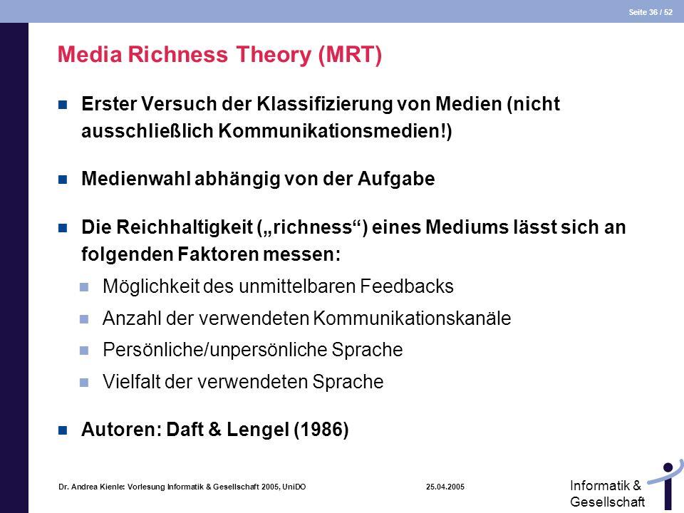Seite 36 / 52 Informatik & Gesellschaft Dr. Andrea Kienle: Vorlesung Informatik & Gesellschaft 2005, UniDO 25.04.2005 Media Richness Theory (MRT) Erst