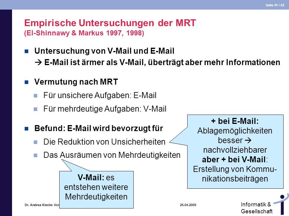 Seite 41 / 52 Informatik & Gesellschaft Dr. Andrea Kienle: Vorlesung Informatik & Gesellschaft 2005, UniDO 25.04.2005 Empirische Untersuchungen der MR