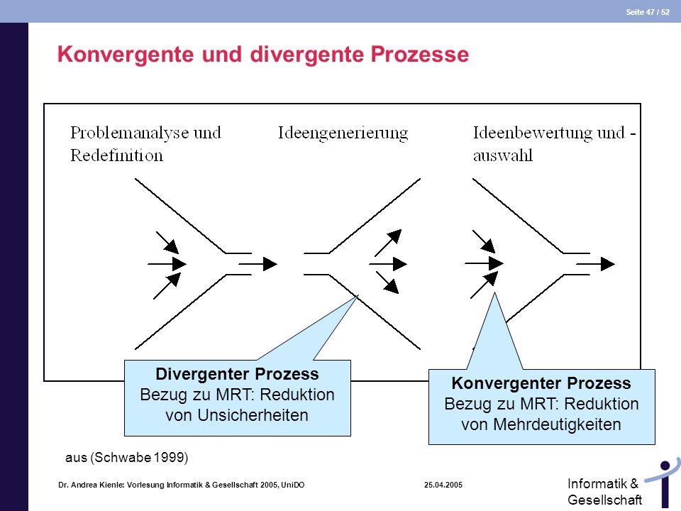 Seite 47 / 52 Informatik & Gesellschaft Dr. Andrea Kienle: Vorlesung Informatik & Gesellschaft 2005, UniDO 25.04.2005 Konvergente und divergente Proze