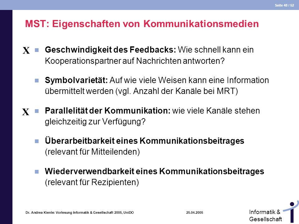 Seite 48 / 52 Informatik & Gesellschaft Dr. Andrea Kienle: Vorlesung Informatik & Gesellschaft 2005, UniDO 25.04.2005 MST: Eigenschaften von Kommunika