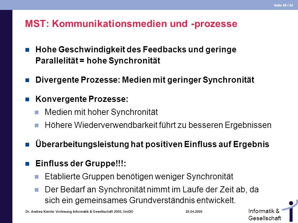 Seite 49 / 52 Informatik & Gesellschaft Dr. Andrea Kienle: Vorlesung Informatik & Gesellschaft 2005, UniDO 25.04.2005 MST: Kommunikationsmedien und -p