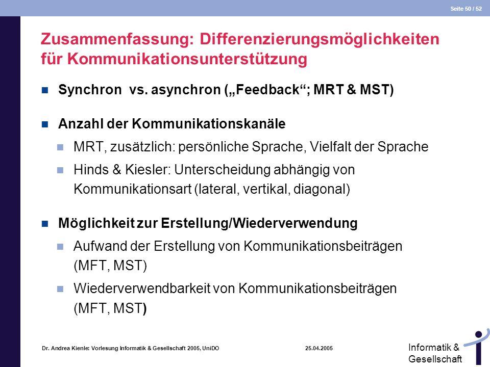 Seite 50 / 52 Informatik & Gesellschaft Dr. Andrea Kienle: Vorlesung Informatik & Gesellschaft 2005, UniDO 25.04.2005 Zusammenfassung: Differenzierung