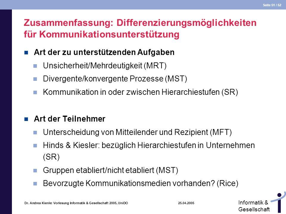 Seite 51 / 52 Informatik & Gesellschaft Dr. Andrea Kienle: Vorlesung Informatik & Gesellschaft 2005, UniDO 25.04.2005 Zusammenfassung: Differenzierung