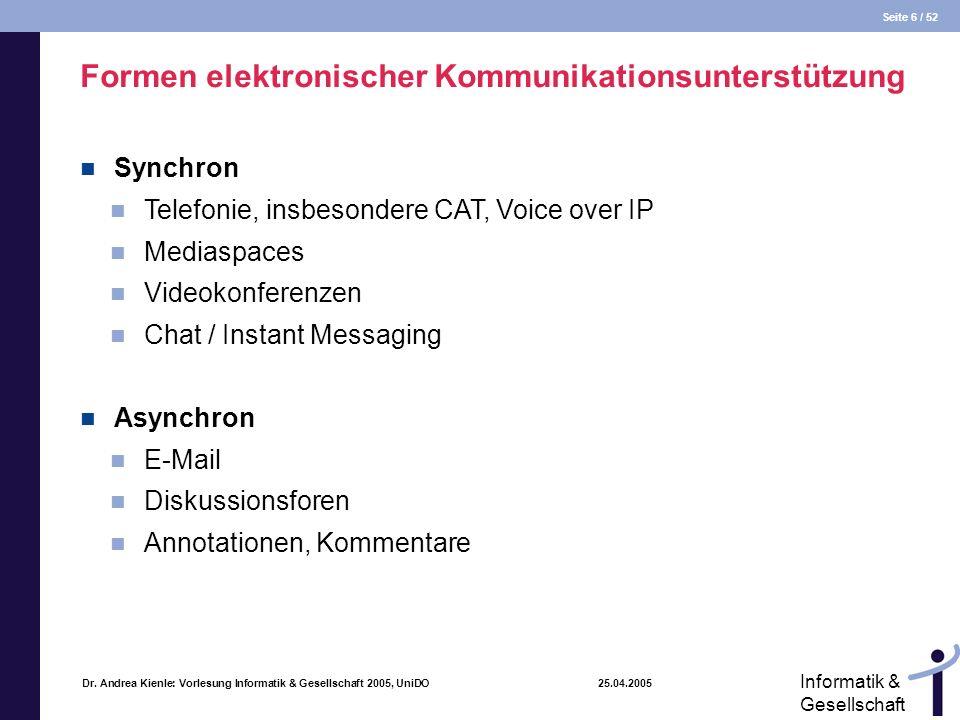 Seite 6 / 52 Informatik & Gesellschaft Dr. Andrea Kienle: Vorlesung Informatik & Gesellschaft 2005, UniDO 25.04.2005 Formen elektronischer Kommunikati