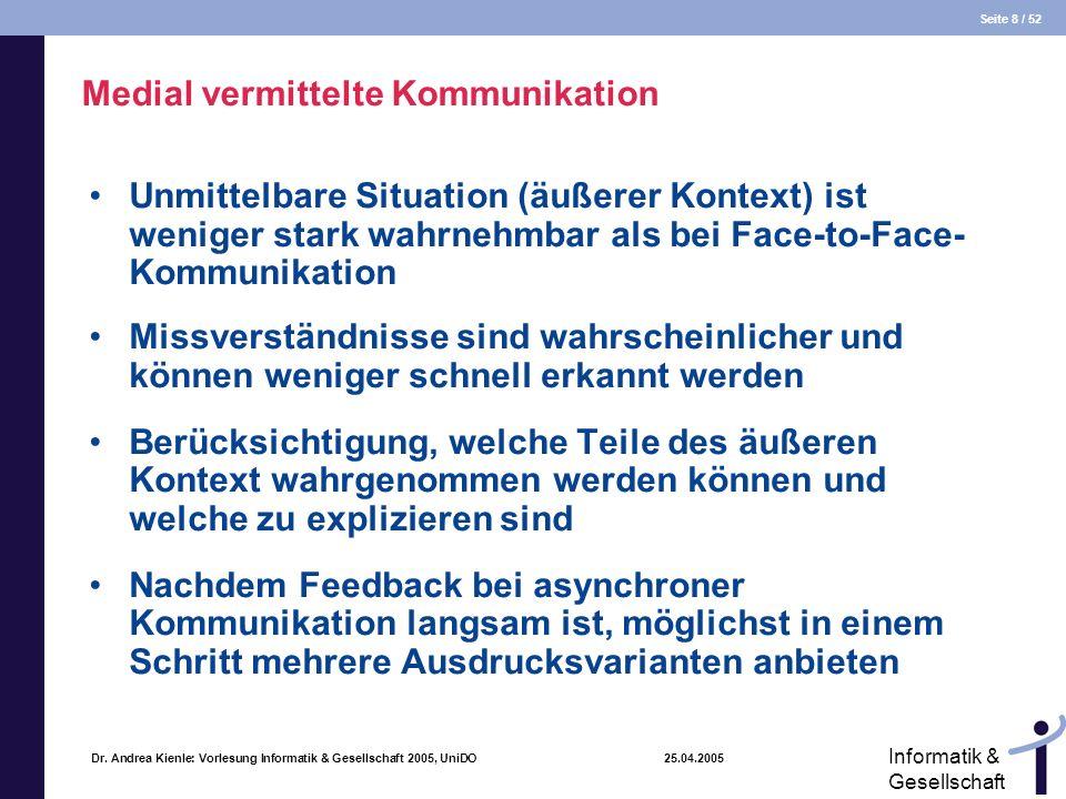 Seite 8 / 52 Informatik & Gesellschaft Dr. Andrea Kienle: Vorlesung Informatik & Gesellschaft 2005, UniDO 25.04.2005 Medial vermittelte Kommunikation