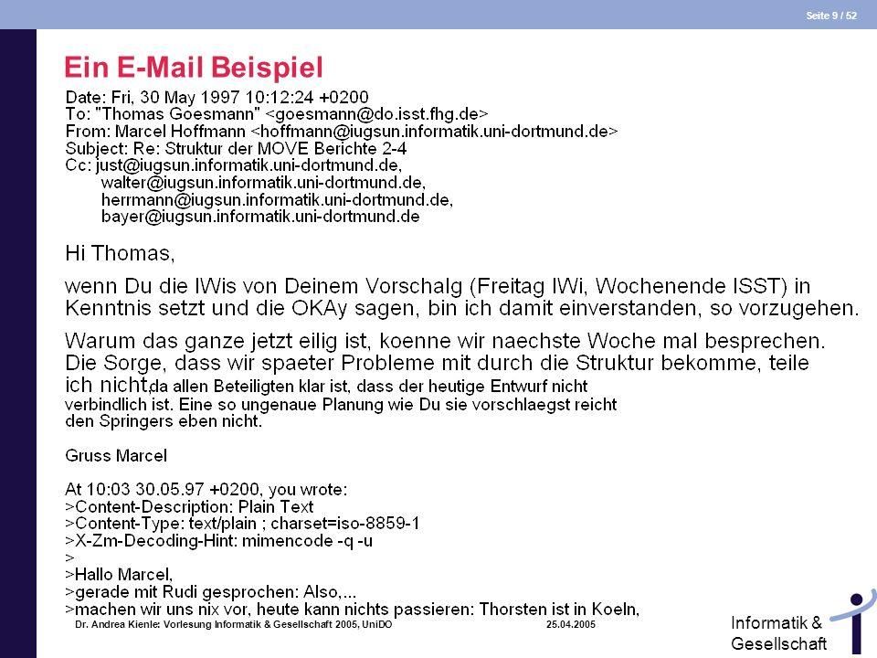 Seite 9 / 52 Informatik & Gesellschaft Dr. Andrea Kienle: Vorlesung Informatik & Gesellschaft 2005, UniDO 25.04.2005 Ein E-Mail Beispiel