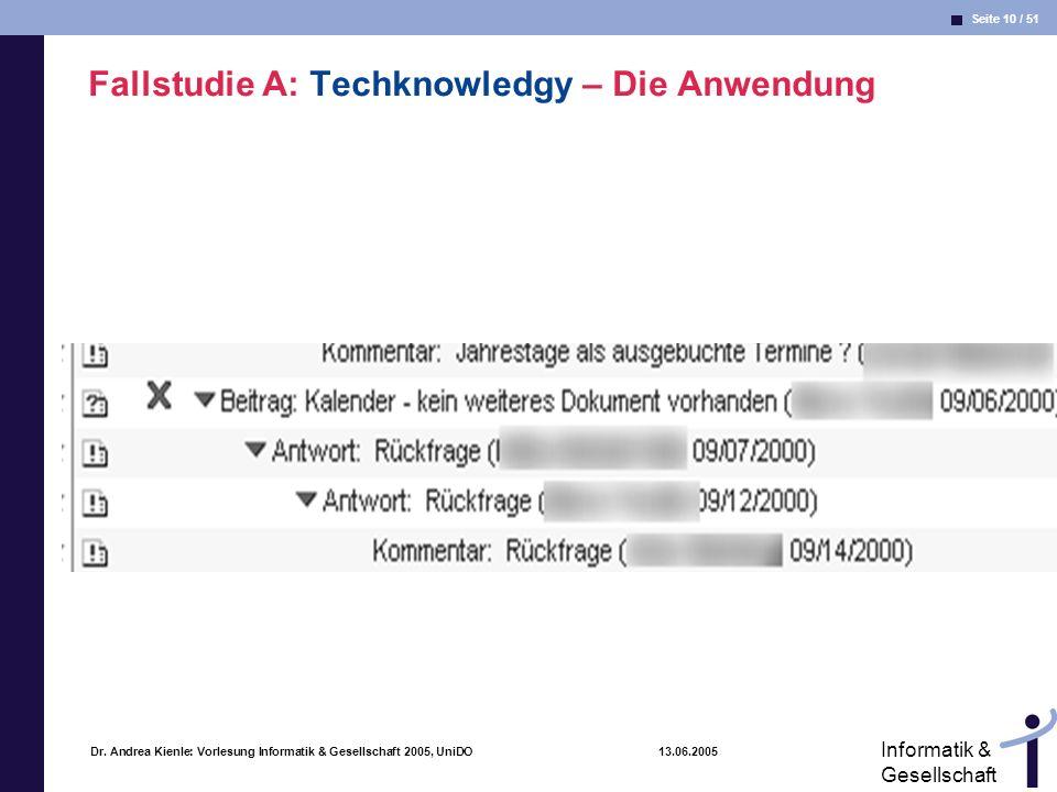 Seite 10 / 51 Informatik & Gesellschaft Dr. Andrea Kienle: Vorlesung Informatik & Gesellschaft 2005, UniDO 13.06.2005 Fallstudie A: Techknowledgy – Di