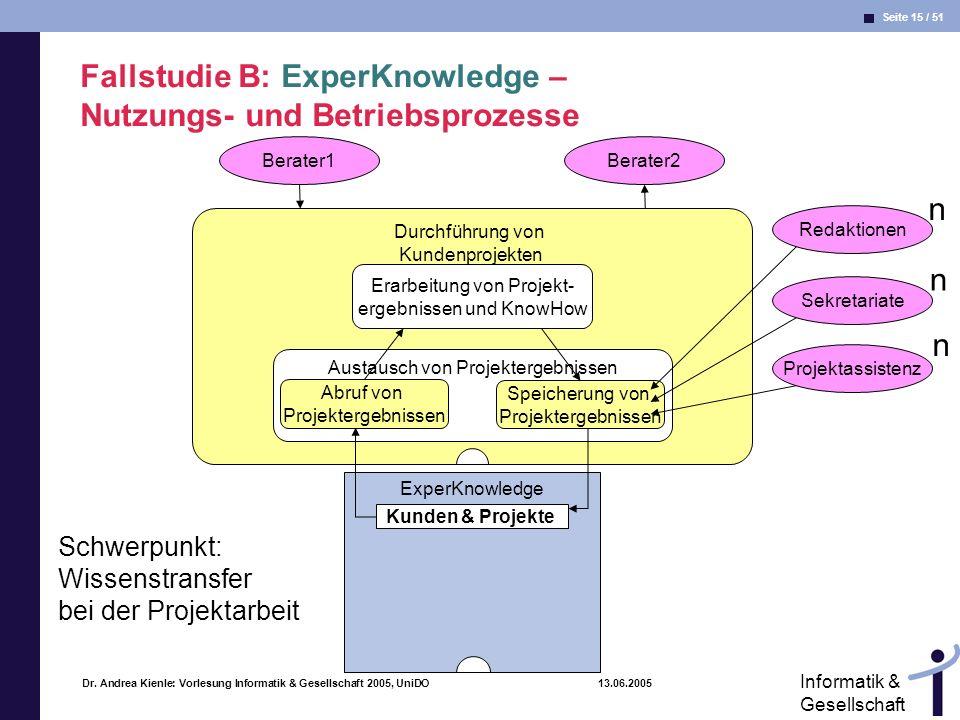 Seite 15 / 51 Informatik & Gesellschaft Dr. Andrea Kienle: Vorlesung Informatik & Gesellschaft 2005, UniDO 13.06.2005 Durchführung von Kundenprojekten