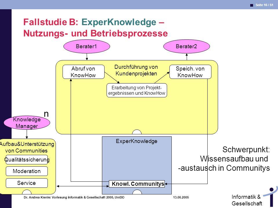 Seite 16 / 51 Informatik & Gesellschaft Dr. Andrea Kienle: Vorlesung Informatik & Gesellschaft 2005, UniDO 13.06.2005 Durchführung von Kundenprojekten