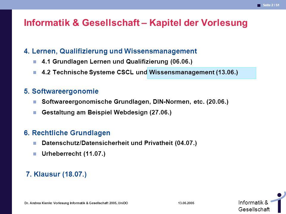 Seite 2 / 51 Informatik & Gesellschaft Dr. Andrea Kienle: Vorlesung Informatik & Gesellschaft 2005, UniDO 13.06.2005 Informatik & Gesellschaft – Kapit