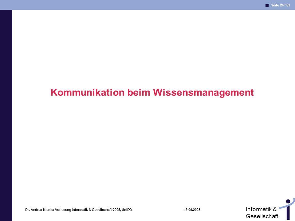 Seite 24 / 51 Informatik & Gesellschaft Dr. Andrea Kienle: Vorlesung Informatik & Gesellschaft 2005, UniDO 13.06.2005 Kommunikation beim Wissensmanage