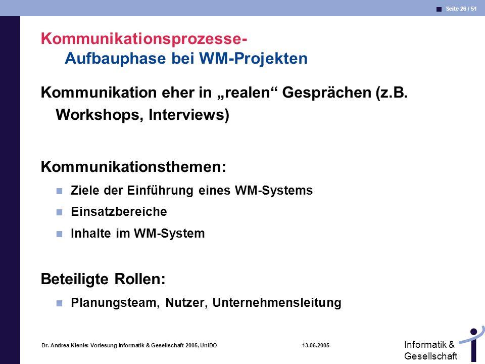 Seite 26 / 51 Informatik & Gesellschaft Dr. Andrea Kienle: Vorlesung Informatik & Gesellschaft 2005, UniDO 13.06.2005 Kommunikationsprozesse- Aufbauph
