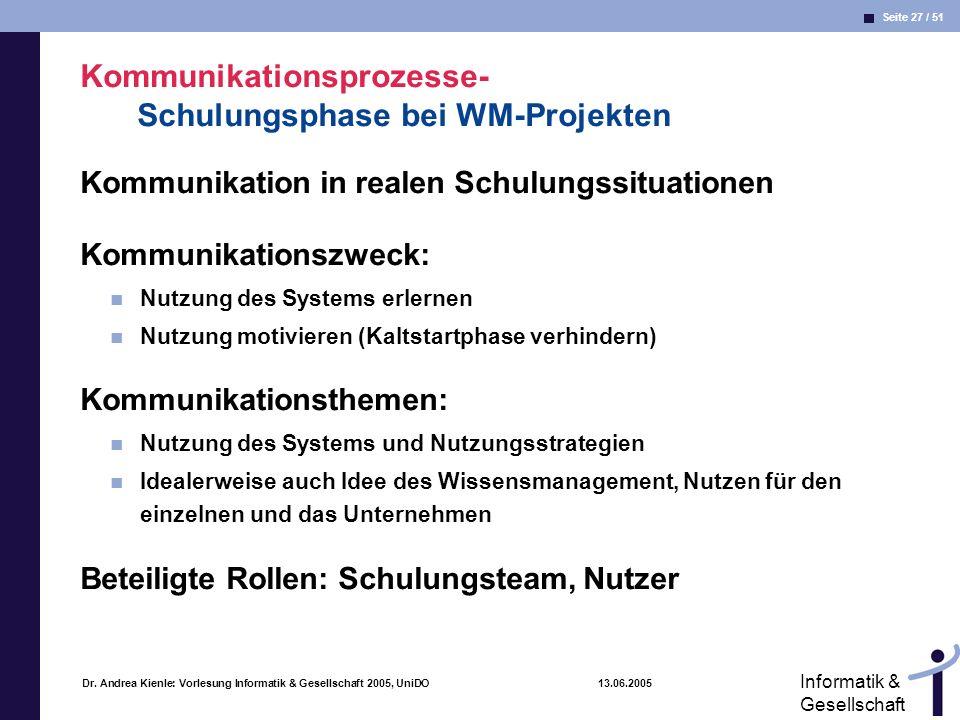 Seite 27 / 51 Informatik & Gesellschaft Dr. Andrea Kienle: Vorlesung Informatik & Gesellschaft 2005, UniDO 13.06.2005 Kommunikationsprozesse- Schulung