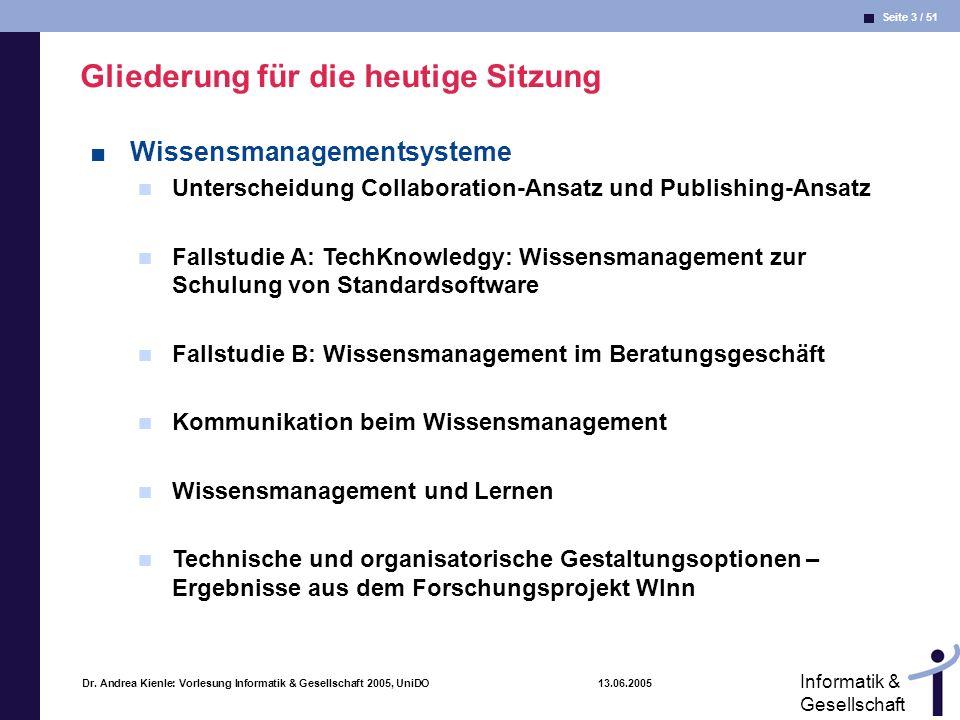 Seite 3 / 51 Informatik & Gesellschaft Dr. Andrea Kienle: Vorlesung Informatik & Gesellschaft 2005, UniDO 13.06.2005 Gliederung für die heutige Sitzun