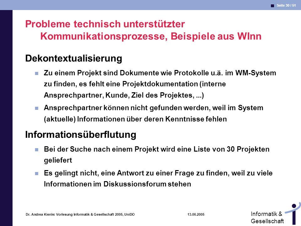 Seite 30 / 51 Informatik & Gesellschaft Dr. Andrea Kienle: Vorlesung Informatik & Gesellschaft 2005, UniDO 13.06.2005 Probleme technisch unterstützter
