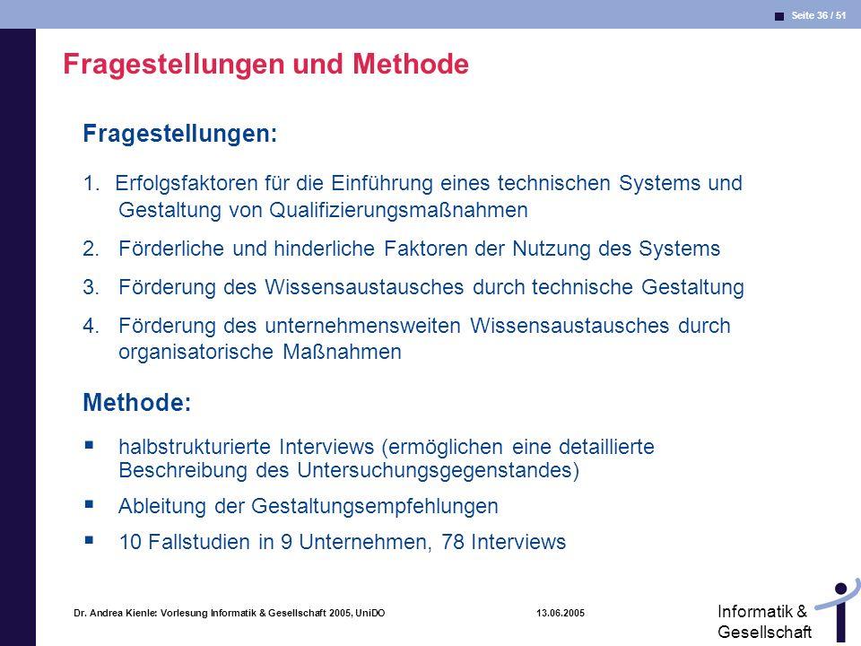 Seite 36 / 51 Informatik & Gesellschaft Dr. Andrea Kienle: Vorlesung Informatik & Gesellschaft 2005, UniDO 13.06.2005 Fragestellungen und Methode Frag