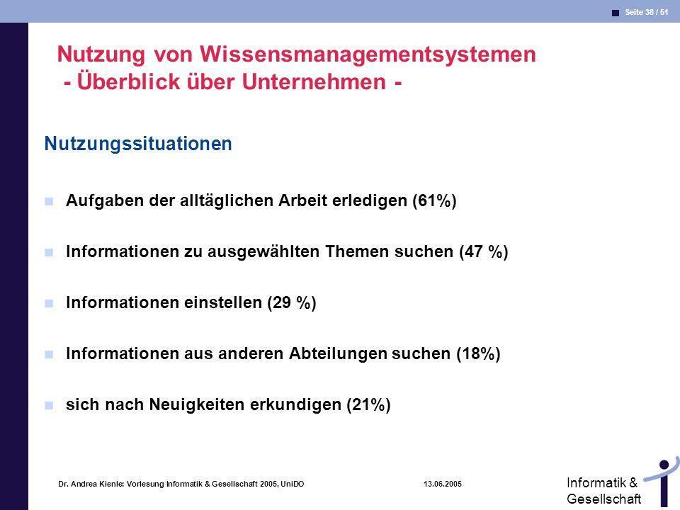 Seite 38 / 51 Informatik & Gesellschaft Dr. Andrea Kienle: Vorlesung Informatik & Gesellschaft 2005, UniDO 13.06.2005 Nutzung von Wissensmanagementsys