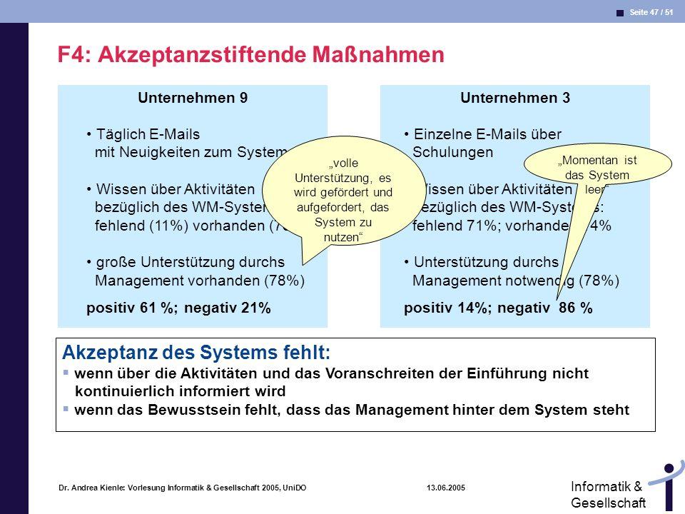 Seite 47 / 51 Informatik & Gesellschaft Dr. Andrea Kienle: Vorlesung Informatik & Gesellschaft 2005, UniDO 13.06.2005 Unternehmen 9 F4: Akzeptanzstift