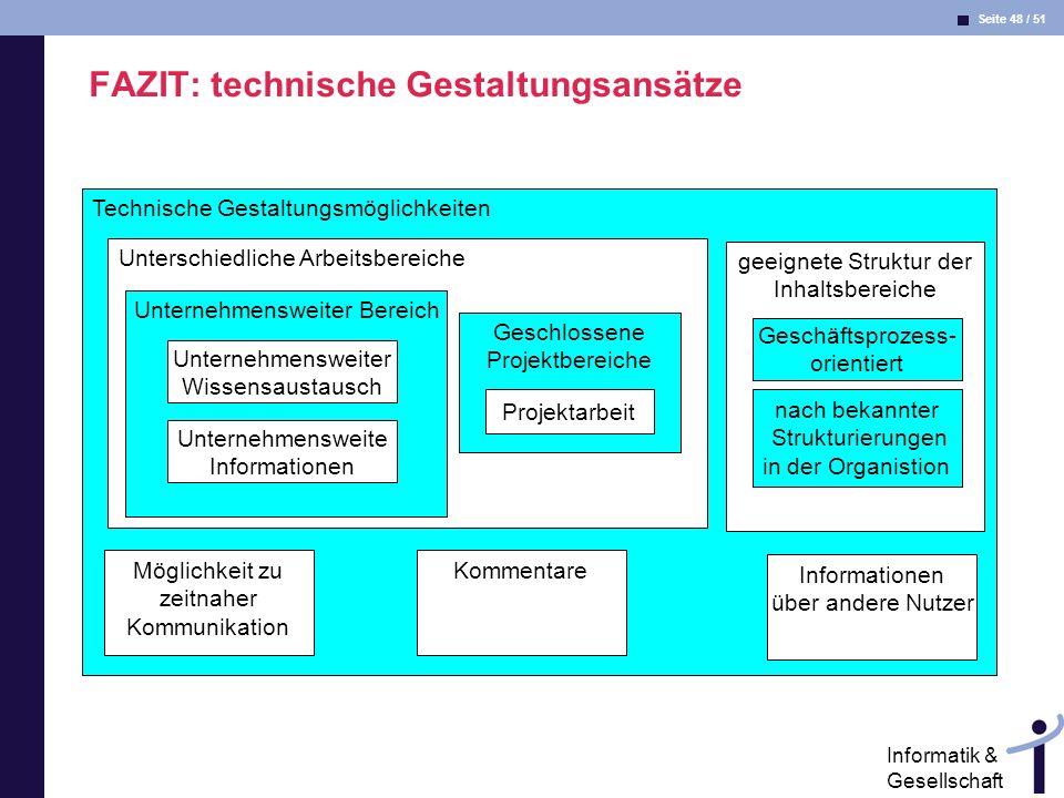 Seite 48 / 51 Informatik & Gesellschaft FAZIT: technische Gestaltungsansätze Technische Gestaltungsmöglichkeiten Unterschiedliche Arbeitsbereiche geei