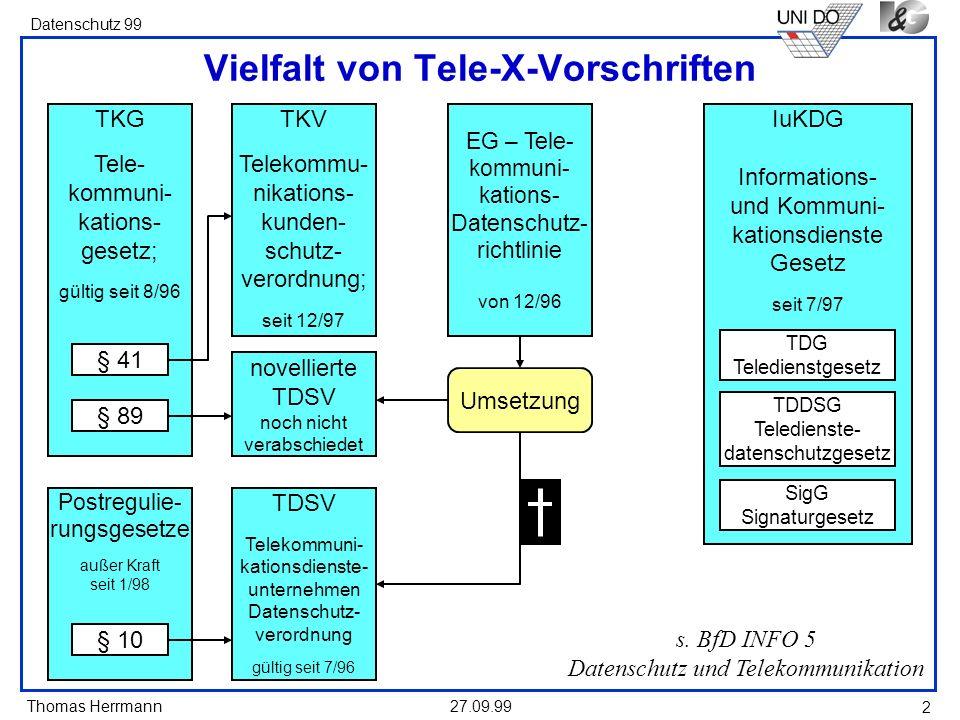Thomas Herrmann Datenschutz 99 27.09.99 2 Vielfalt von Tele-X-Vorschriften s. BfD INFO 5 Datenschutz und Telekommunikation TKG Tele- kommuni- kations-