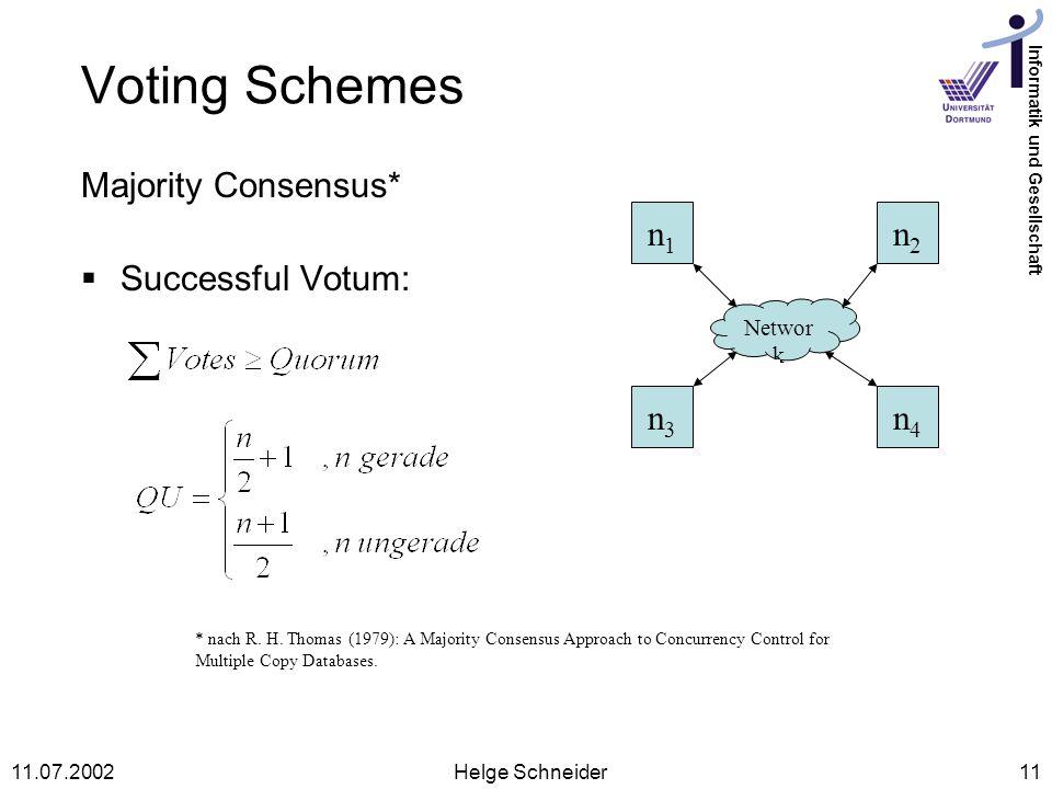 Informatik und Gesellschaft 11.07.2002Helge Schneider11 Voting Schemes Majority Consensus* Successful Votum: Networ k n1n1 n2n2 n3n3 n4n4 * nach R.
