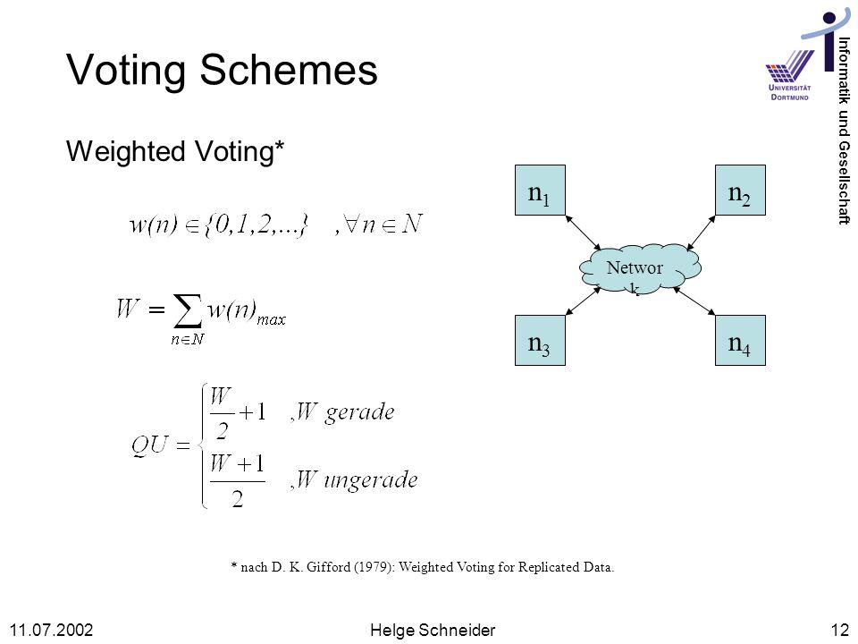 Informatik und Gesellschaft 11.07.2002Helge Schneider12 Voting Schemes Weighted Voting* * nach D.
