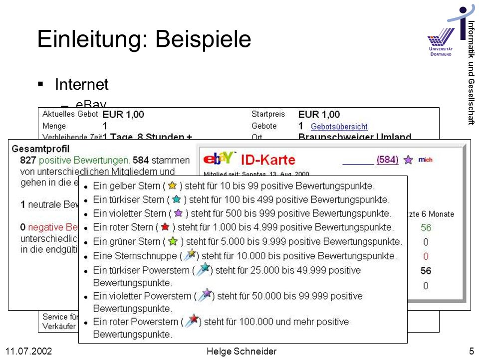 Informatik und Gesellschaft 11.07.2002Helge Schneider5 Einleitung: Beispiele Internet –eBay