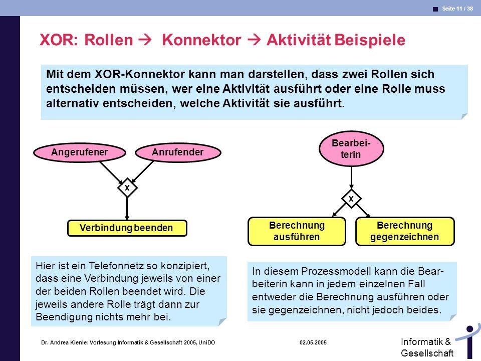 Seite 11 / 38 Informatik & Gesellschaft Dr. Andrea Kienle: Vorlesung Informatik & Gesellschaft 2005, UniDO 02.05.2005 XOR: Rollen Konnektor Aktivität