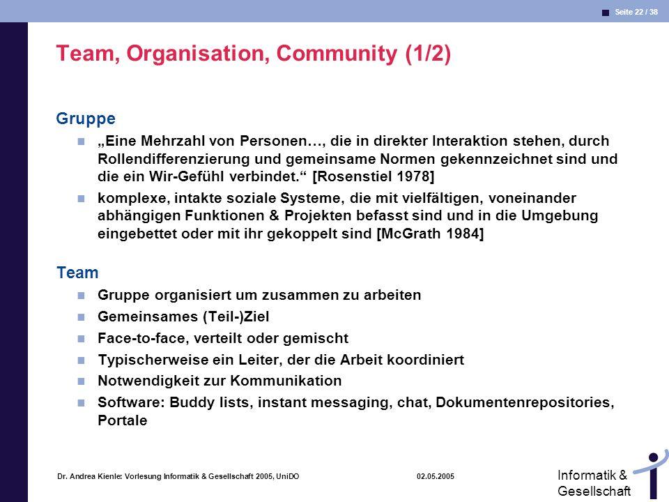 Seite 22 / 38 Informatik & Gesellschaft Dr. Andrea Kienle: Vorlesung Informatik & Gesellschaft 2005, UniDO 02.05.2005 Team, Organisation, Community (1