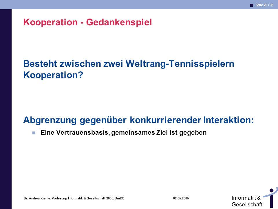Seite 25 / 38 Informatik & Gesellschaft Dr. Andrea Kienle: Vorlesung Informatik & Gesellschaft 2005, UniDO 02.05.2005 Kooperation - Gedankenspiel Best