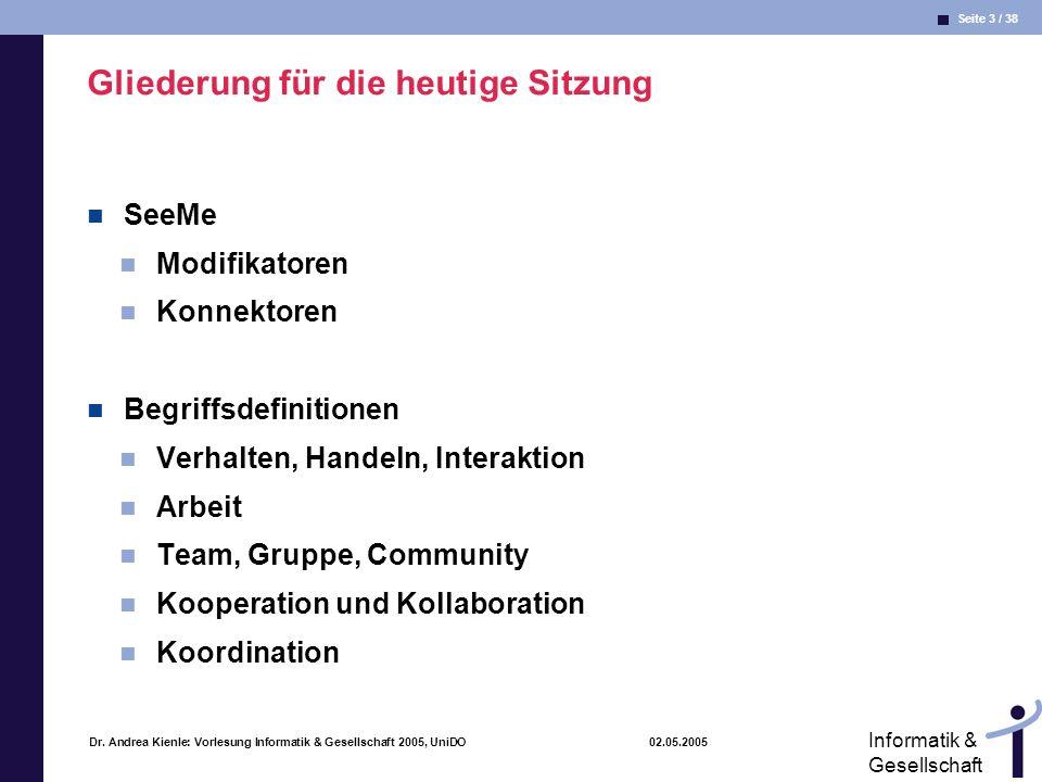 Seite 3 / 38 Informatik & Gesellschaft Dr. Andrea Kienle: Vorlesung Informatik & Gesellschaft 2005, UniDO 02.05.2005 Gliederung für die heutige Sitzun