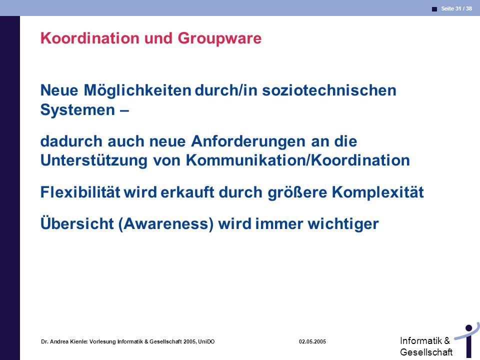 Seite 31 / 38 Informatik & Gesellschaft Dr. Andrea Kienle: Vorlesung Informatik & Gesellschaft 2005, UniDO 02.05.2005 Koordination und Groupware Neue