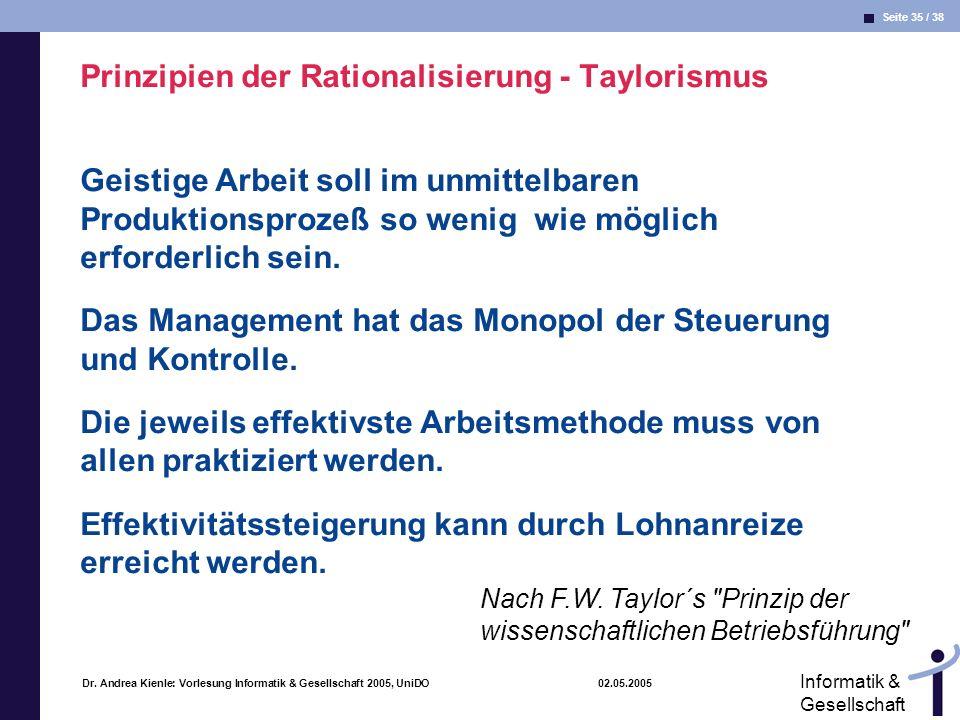 Seite 35 / 38 Informatik & Gesellschaft Dr. Andrea Kienle: Vorlesung Informatik & Gesellschaft 2005, UniDO 02.05.2005 Prinzipien der Rationalisierung