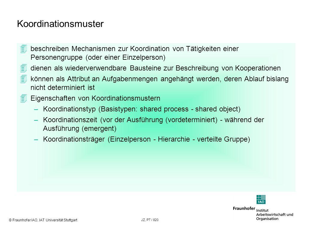 © Fraunhofer IAO, IAT Universität Stuttgart JZ, PT / 820 Koordinationsmuster beschreiben Mechanismen zur Koordination von Tätigkeiten einer Personengr