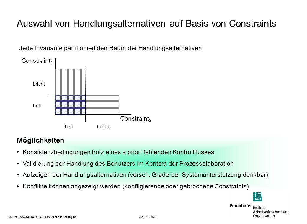 © Fraunhofer IAO, IAT Universität Stuttgart JZ, PT / 820 Auswahl von Handlungsalternativen auf Basis von Constraints Jede Invariante partitioniert den