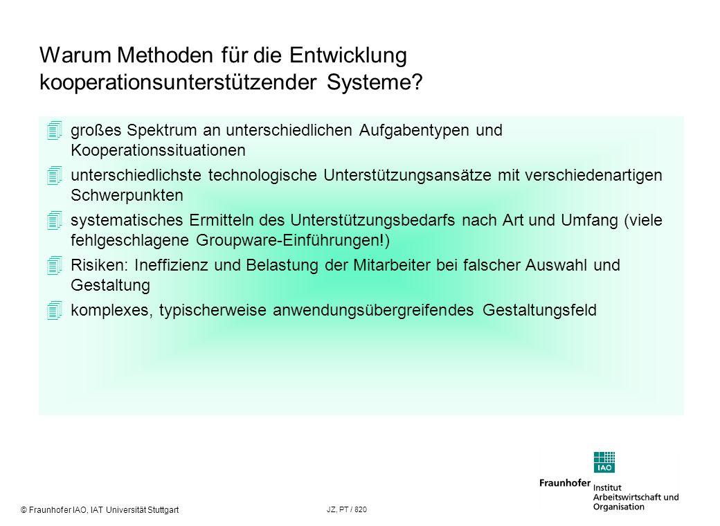 © Fraunhofer IAO, IAT Universität Stuttgart JZ, PT / 820 Warum Methoden für die Entwicklung kooperationsunterstützender Systeme? großes Spektrum an un