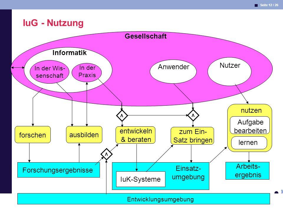 Seite 12 / 26 Informatik & Gesellschaft Dr. Andrea Kienle: Vorlesung Informatik & Gesellschaft 2005, UniDO 11.04.2005 Arbeits- ergebnis Entwicklungsum