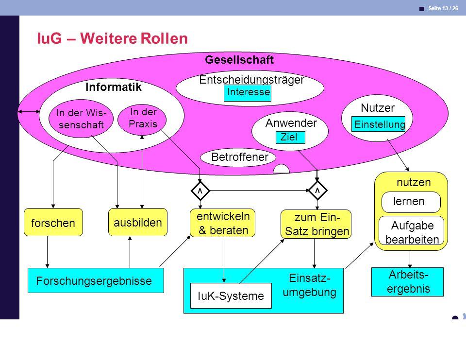 Seite 13 / 26 Informatik & Gesellschaft Dr. Andrea Kienle: Vorlesung Informatik & Gesellschaft 2005, UniDO 11.04.2005 Gesellschaft Entscheidungsträger
